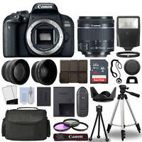 Canon EOS 800D SLR Camera Body + 3 Lens Kit 18-55mm IS STM + 16GB + Flash & More
