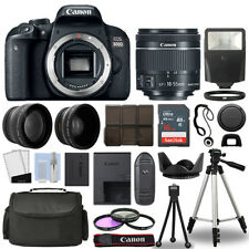 Canon EOS 800D SLR Camera Body + 3 Lens Kit 18-55mm IS STM + 16GB + Flash & More
