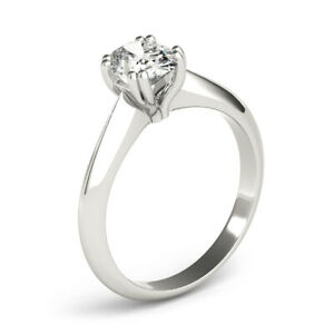 OVAL DIAMOND ENGAGEMENT RING E SI2 1 CARAT SOLITAIRE 14K WHITE GOLD SIZE 4 5 6 7