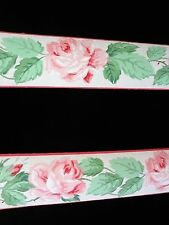 Vintage 1930's Duro Wallpaper Borders Pink Roses Green Leaves Hand Painted MINT