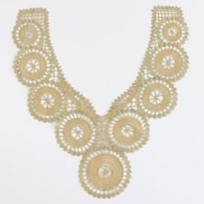 Gold Flower Venise Lace Applique Trims Collar Neckline Motif Embroidery Crafts