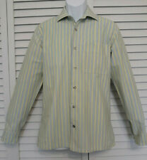 Marimekko Mens Striped Yellow/Blue Jokapoika Shirt Slim Fit Long Sleeve 38/15/S