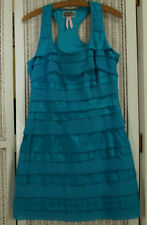 """LIPSY LONDON Tiered Cocktail Dress UK10 / 33"""" Bust Teal Silk Blend Party Dress"""