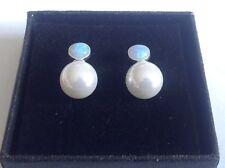Fine Sterling silver 925 blue Gilson Fire Opal & pearl stud earrings