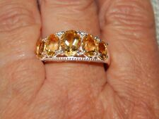 CITRINE 5 STONE LARGE RING-SIZE P-3.500CTS-STERLING SILVER 925