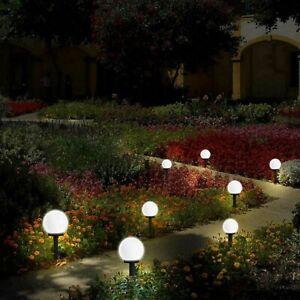 2-6PCS Round LED Solar Garden Light Mood Ball Sphere Globe Stake Lights White UK