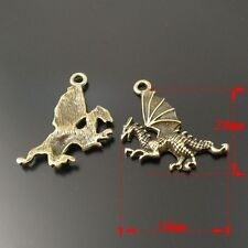 50X Vintage Style Antiqued Bronze Tone Flying Dragon Pandent Charms 20*20*2mm