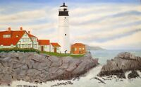 PORTLAND LIGHTHOUSE, LARGE ORIGINAL OIL PAINTING