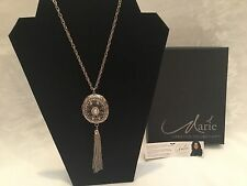 Marie Osmond Locket Silvertone Necklace