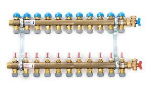 Polypipe Underfloor Heating 11 Port Pushfit Brass Manifold -15mm PB12746