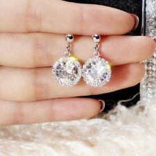 Round Crystal Cz Geometric Stud Earrings Korean Women White Gold Filled Inlay