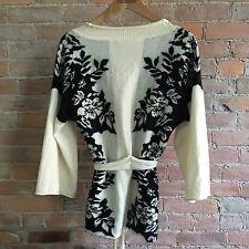 Anthropologie Liamolly Kimono Cardigan Tie Floral Front Black White Wool Size M