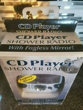 Shower Radio Cd Player Clock Am Fm Stereo w/ Fogless Mirror - Lcd Clock - New