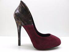 ALDO Burgundy Red Black Animal Print Suede Leather Platform Pump 7M 7 MSRP $89