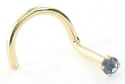20g 14kt Yellow Gold 1.5mm CZ-Sapphire Jewel Nose SCREW