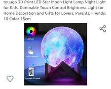 touugo 3D Print LED Star Moon Light Lamp Night Light for Kids, Dimmable Touch...