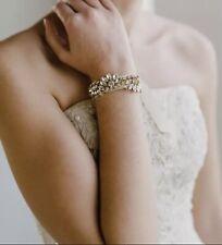 Gold Vintage Style Crystal Rhinestone Silver Bridal Wedding Bracelet With Ribbon