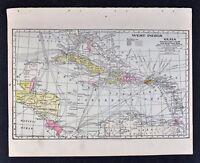 1905 Crowell Map West Indies Cuba Haiti Jamaica Antilles Porto Rico Florida Keys