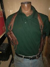 Tanned Leather Shoulder Holster & 2 Magazine Pouch Vertical Fits Glock 19 & 23