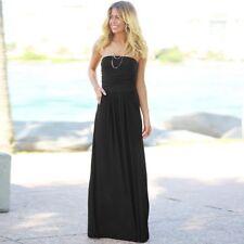 Women's Strapless Maxi Dress Ruched Pockets Tube Top Long Skirt Beach Sundress