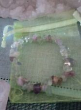 Handmade Natural FLUORITE Crystal Gemstone Chip Stretch Bracelet 5/8 mm Chips