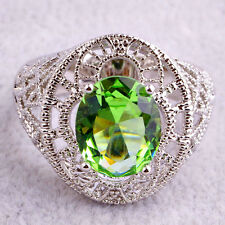 Solitaire Green Amethyst Fashion Jewelry Women Men Gift AAA Silver Ring Size 9