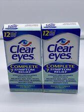 2PK Clear Eyes | Complete 7 Symptom Relief Enhanced Formula Eye Drops 0.5 FL OZ