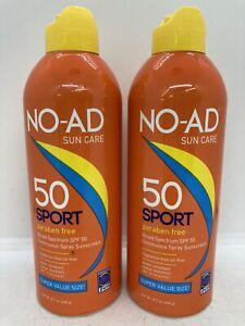 2 NO-AD Sport Continuous Spray SPF 50 Sunscreen 8.7 oz Each Exp 10/2021