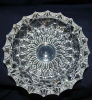 """VTG Large & Heavy 7"""" Clear Cut Glass Pressed Glass Ashtray for Cigar & Cigarette"""