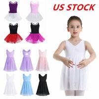 US Girls Ballet Dress Gymnastics Leotard Tutu Skirt Outfit Performance Dancewear