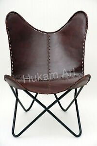 Butterfly Leather Chair, Home Relax Arm Brown Handmade, Living Room, Bedroom