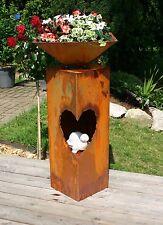 Rost Säule Herz mit Schale Edelrostsäule Gartendeko - mit Zwischenboden