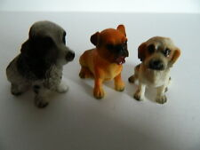 (G6.18) DOLLS HOUSE SET OF THREE ASSORTED RESIN DOGS