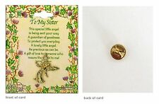 To My Sister Lovely Little Angel A Gift Of Love Lapel Pin Badge Brooch Gilt