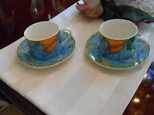 2 Casual Victoria & Beale Forbidden Fruit  Coffee Tea Cups and Saucers #9024