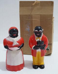 Vintage F & F Mold & Die Works Plastic Aunt Jemim Uncle Mose Salt Pepper Shaker