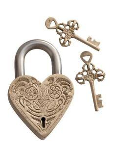 Victorian Trading Co Brass Heart Shaped Floral Love Lock Padlock & Key