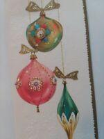 Vtg GLITTER Christmas ORNAMENTS Pink AQUA Gold Coronation Embossed GREETING CARD