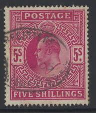 Great Britain 140 used w/anchor wm & Registered Needle St. pmk - 5 sh Edward VII