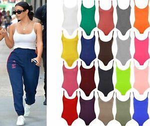 Womens Ladies Stretch Strappy Sleeveless Camisole Bodysuit Leotard Vest Top