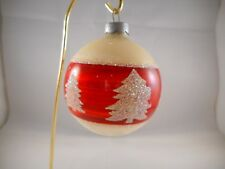 Vintage Round Mercury Glass Christmas Tree Ornament Glitter Red White