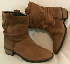 Next Wide Fit Brown Mid Calf Leather Lovely Boots Size 6 (316vv)