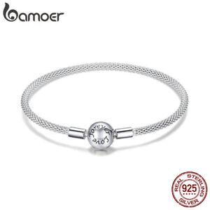 BAMOER Fine 100% Sterling Silver Bangle Bracelet Forever Love For Women Jewelry