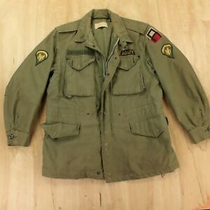 vtg 50s 60s M-51 army field jacket SMALL SHORT og-107 sateen faded distressed