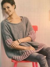 KNITTING PATTERN Ladies Slouchy Jumper Rib Edging Sweater Rowan PATTERN