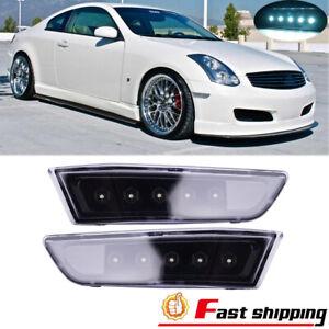 Fits INFINITI G35 Coupe 2003-2007 LED Smoky Gray Side Marker Lights Lamps 2PCS