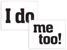 """2 Schuhsticker """"I do / me too"""" Aufkleber, Hochzeit, Brautschuhe, lustige Sticker"""