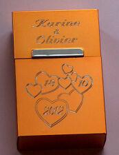 boite a cigarette or aluminium gravée amour saint valentin + prénoms au choix