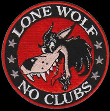 LONE WOLF NO CLUBS EMROIDERED 3 INCH BIKER PATCH