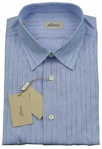 Brioni Mens H/S Blue Thin Stripe Handmade Shirt BNWT SZ L /EU 41 - UK 16